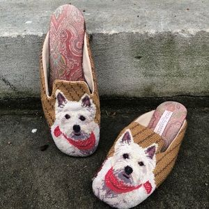 Amy Jo Gladstone Wool Embroidered Dog Mules L